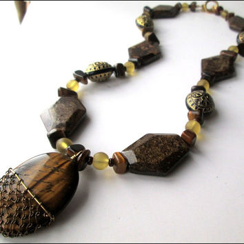Women's Wire Wrapped Brown Tigers Eye Necklace | Women's Bronzite and Yellow Sea Glass Beaded Necklace | Lady Green Eyes Jewelry