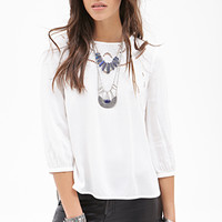 FOREVER 21 Floral Embroidery & Lace Top Cream