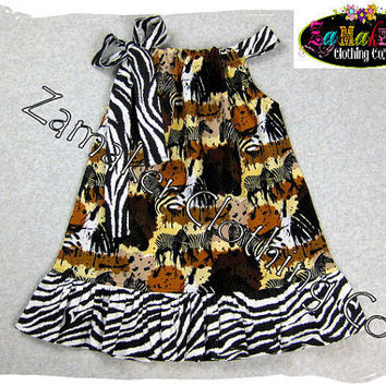 Girls Pillowcase Dress  Zebra Animal Safari  by ZamakerrClothingCo