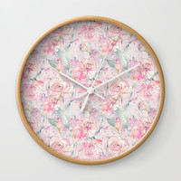 floral blush Wall Clock by sylviacookphotography