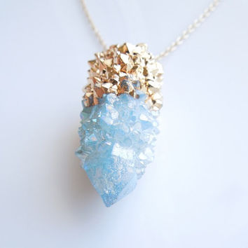 Aqua Aura Necklace - Spirit Quartz Necklace - Cactus Quartz - Drusy - Aqua Blue - Small Size - OOAK
