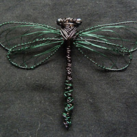 Black and green wire dragonfly brooch