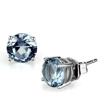 1CT Each Round Cut Blue Sky Aquamarine Platinum Stud Earrings