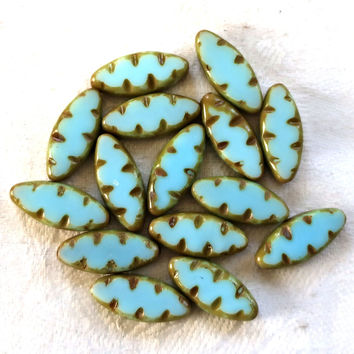 Ten 18 x 8mm powder blue carved, table cut, picasso Czech glass spindle bead, C05101