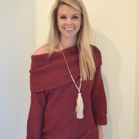 Berry Foldover Sweater – Lucca Lane
