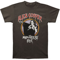 Alice Cooper Men's  Madhouse Rock Slim Fit T-shirt Charcoal Rockabilia