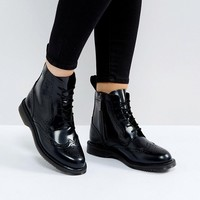 Dr Martens Kensington Delphine Brogue Black Lace Up Ankle Boots at asos.com