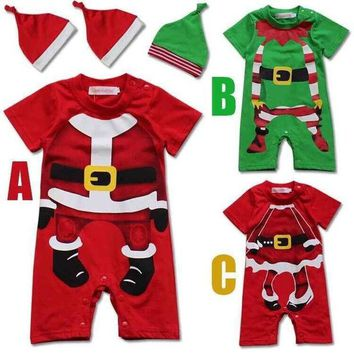 DCCKWQA 2016 christmas new boys and girls infant baby romper cotton short sleeved Christmas style Leotard