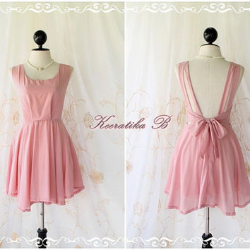 A Party - Angel No Wings - Petite Size Designs - Prom Party Wedding Bridesmaid Cocktail Dress Deep Back Pink Nude  XS-S