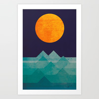 The ocean, the sea, the wave - night scene Art Print by budikwan