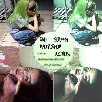 "Photoshop ACTION Coloring File Instant Download Photo Effects Actions ""SAD GREEN"" 90s Grunge Pale Dark Pastel Goth"