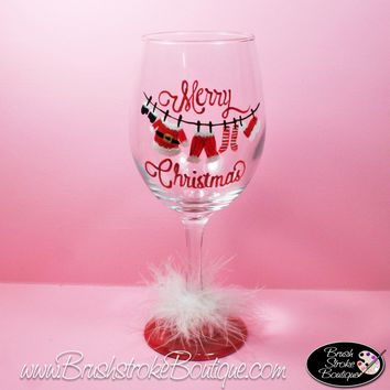 Hand Painted Wine Glass - Santas Clothesline - Original Designs by Cathy Kraemer