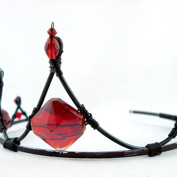 Sanguine Red and Black Crystal Gothic Bridal Tiara by angelyques
