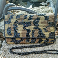 Vintage Camouflage Beaded Folder Clutch / Crossbody Handbag Purse - Boho Chic / Retro / Art Deco / Stylish / Fashion / Unique / Gift