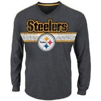 Pittsburgh Steelers Victory Pride V Longsleeve Grey T-Shirt - Official Online Store