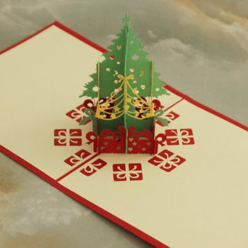 Merry Christmas Tree 3D laser cut pop up paper handmade custom greeting cards Christmas gifts souvenirs