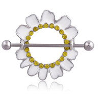 2pcs Nipple Rings Piercing White Plating Chrysanthemum Nipple Rings Bars Surgical Steel With Rhinestone body jewelry