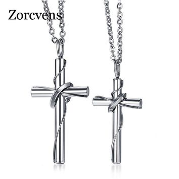 ZORCVENS 2018 New Brand Stainless Steel Silver Color Women's Men's Fashion Love Cross Couple Pendant Necklace