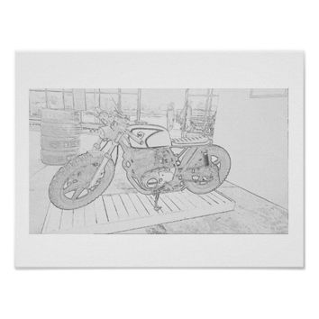 Custom Built Motorbike Motorcycle Sketch Poster