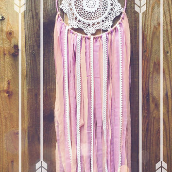 Purple & White Sequin Shabby Chic Boho Gypsy Lace Crochet Doily Dreamcatcher // Baby Nursery Decor // Wedding Decor // Home Decor