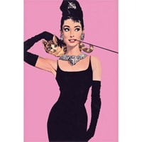 Audrey Hepburn Posters Breakfast at Tiffany's Pink Prints, RetroPlanet.com