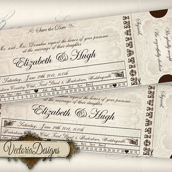Custom Printable Wedding Invitation Ticket printable images digital collage sheet 369