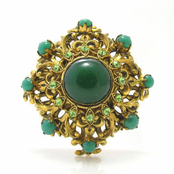 West Germany Green Rhinestone Brooch