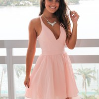 Pink Short Dress with Lace Back
