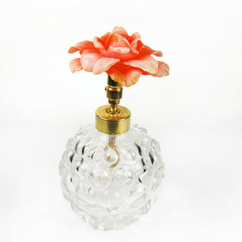 Vintage Perfume Bottle with Coral Rose Topper, Glass Knob Bottle - Bouteille de Parfum.