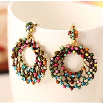 ONETOW New fashion big Bohemian wind bead color circle exaggerated large earrings earrings jewelry