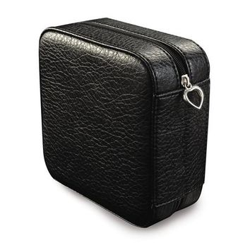 Black Faux Leather Compact Jewelry Box