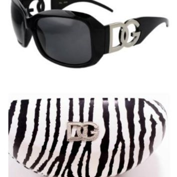 DG Eyewear Black Sunglasses and 1 Zebra Hard Case with Free Micro Fiber Bag