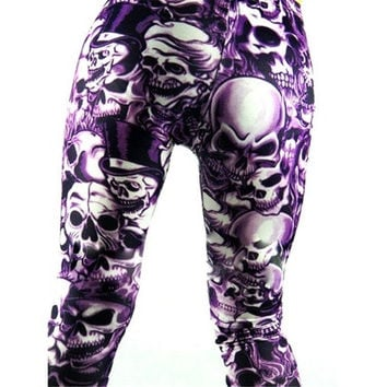 Sexy Scrawl Leggings Skull Print Tights Pants Girls Phat Shiny Neon Rock Punk Funky [8833658572]