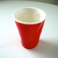 Ceramic Cup Red Party Cup Hand Painted Eco Friendly Drinkware Crinkled