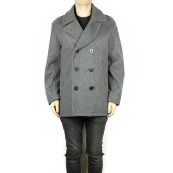 Mens Lands End Wool Peacoat / L - XL / gray / heavy warm wool pea coat / winter jacket / classic / navy / heritage