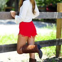 High And Mighty High Waisted Shorts: Red | Hope's