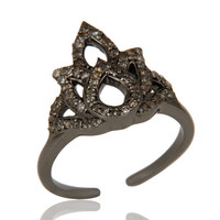 Diamond Black Oxidized Sterling Silver Crown Midi Ring