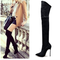 2016 women thigh high boots over the knee boots for women fashion high heels winter and autumn woman shoes botas mujer femininas