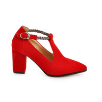 T Strap Block Heel Pumps