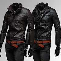Slim Fit Fashion Men Leather Zip Jacket SOS