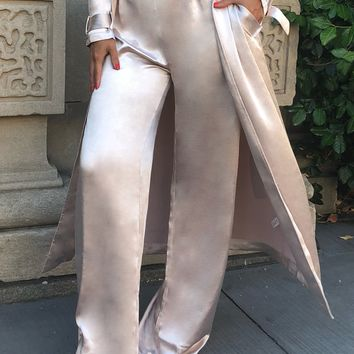 Alexina High Waist Wide Leg Beige Satin Pants
