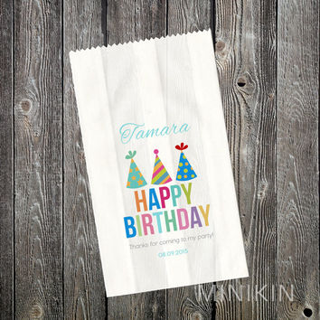 25 x Personalised Lolly Bags - Birthday Party Supplies - Rainbow - Birthday Favours - Candy Bags - Loot Bags - Paper Favor Bags - Small