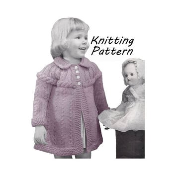 Toddler Rope Detail Sweater Knitting Pattern Sz 1- 4 || Chest 20- 23in/ 51- 58cm  ||Vintage 1950's Reproduction PDF Instant Download 5940-68