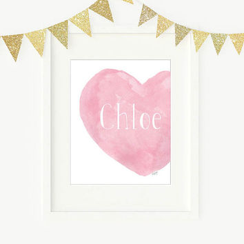 Pink Nursery Art, Personalized Name, 8x10 Watercolor Heart, Baby Girl Gift, Shabby, Girls Shower Gift, Baby Girl Decor, Girls Room Decor