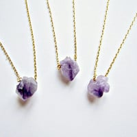 Amethyst Necklace Amethyst Pendant Amethyst Raw Cut Faceted Nugget Necklace Amethyst Crystal Quartz Druzy Necklace