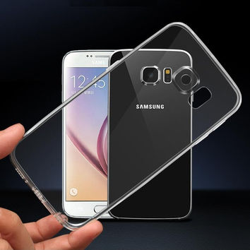S7 S7edge Cases Silicon TPU Clear Transparent Case for Samsung Galaxy S7 EDGE Soft Crystal Cover with Dust Plug Slim Ultrathin