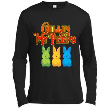 Chilling With My Peeps T-shirt Cool Easter Bunny Rabbit Tee Long Sleeve Moisture Absorbing Shirt
