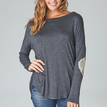 Charcoal Grey Lace Elbow Patch Top