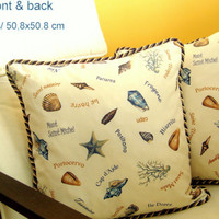 Coastal nautical 20x20 pillow cover Twist cord seaside decor