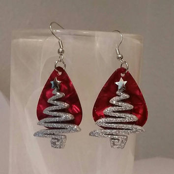 Guitar Pick Jewelry by Betsy's Jewelry - Earrings - Christmas Jewelry - Christmas Trees - Holiday - Festive Jewelry